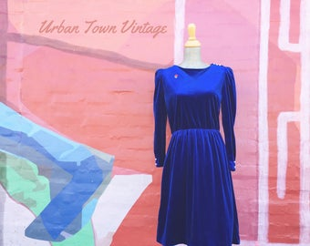 Vintage Cobalt Blue Velour Dress (Size Medium)