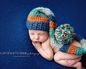 NEW ITEM! Elf Hat in Blue, Orange, Teal, and Silver
