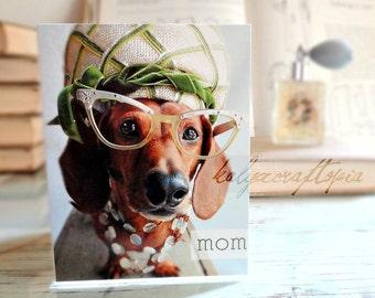 Mothers Day Retro Dachshund Card