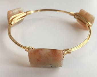 Sunstone Wire Wrapped Bangle, Wire Wrap Bangle, Wire Bangle, Bangle, Wire Wrapped Bracelet, Wire Wrap Bracelet