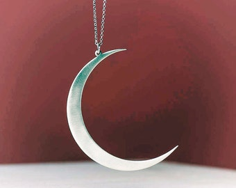 Extra Large Moon Necklace Silver Crescent Pendant Sterling Statement Birthday gift teem Christmas fashion romantic sale free shipping