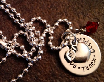 Love Teach Inspire Hand stamped necklace great for a teacher