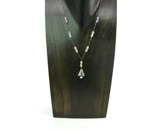 Crystal Art Deco Necklace Czech Clear Glass Bicone Beads Lavalier Choker Paper Clip Chain Machine Cut Pendant Drop Vintage 1920s Wedding
