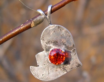 spessartite garnet 5mm round Broken Heart Adoption Pendant in .999 fine silver & Sterling Silver (January Birthstone)
