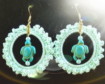 Summer Hoops Mint Green and Turquoise Turtle Boho Dangling Earrings
