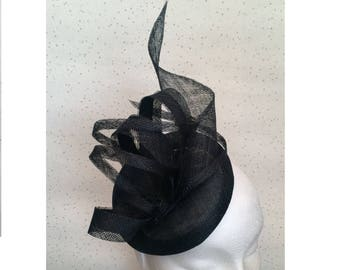 Black Fascinator Wedding Hat Black PillBox Hat  Black Hatinator Black Headpiece Goodwood Races Ascot Ladies Day