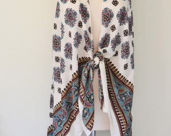Pretty Please - Floral Print Kimono Duster Wrap, Boho Kimono Wrap, Plus size, Floral Paisley Print Kimono, Boho Kimono Women's Kimono Duster