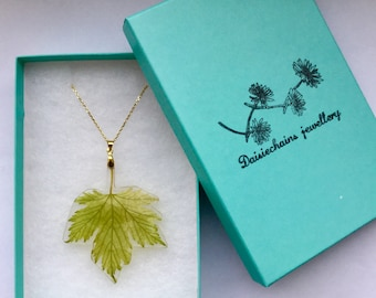 Maple leaf pendant,acer leaf necklace,real leaf necklace