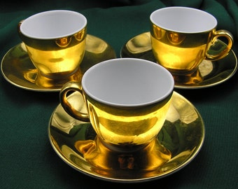 3x Royal Worcester Gold Lustre Coffee Cups and Saucers