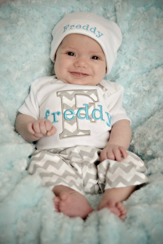 Personalized Baby Boy Gift Baby Boy Clothes Gray Turquoise