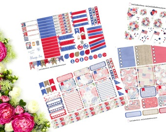 WEEKLY Patriotic Florals Sticker Kit