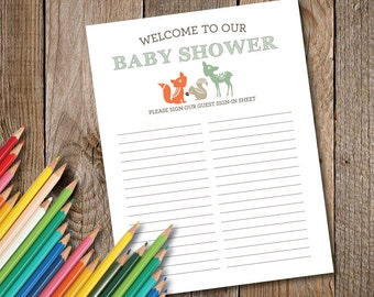 Woodland Creatures Baby Shower Guest Sign-In Sheet