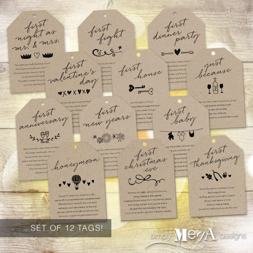 Marriage Milestone Wine Basket Tags Set Of 12 Bridal