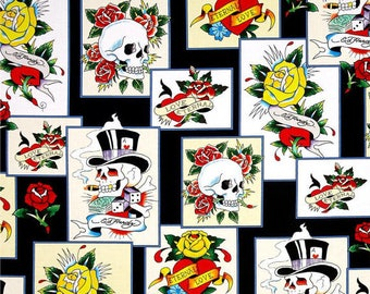 Ed Hardy, Love Is True Tattoo Patch Print, Quilting Treasures, by the half yard