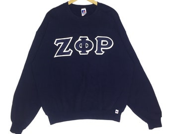 Rare!! Vintage 90s ZØP by Russell Athletic Spellout Big Logo Crewneck Sweatshirt
