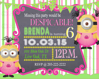 Chalk Minions Girls Birthday Invitation-Minions Girls Two background - Pink and Green- Pink and Blue