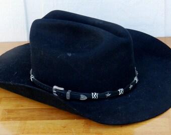 Black Eddy Brothers 5X Cattleman Style Cowboy Hat Size 7 1/4               00102