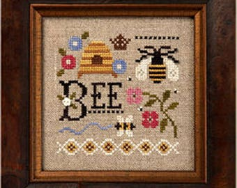 Lizzie Kate A Little Bee K90 Counted Cross Stitch Chart with Linen and Button