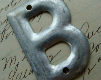 Vintage Salvaged Metal Antique Bell System Aluminum Initial B