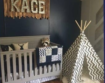 Gray Deer Head and Arrows with Navy Chevron 3 Piece Baby Crib Bedding Set MADE TO ORDER