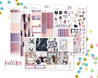 Jet Plane- A LA CARTE Vertical Weekly Kit planner stickers- Travel, Summer, Vacation