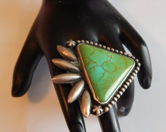 Giant TURQUOISE Sterling SILVER Signed Native American South West ring
