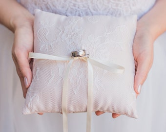 Blush Champagne French Chantilly Lace Ring Pillow -  Handmade in the USA, Ring Bearer Pillow, Ring Pillow, Ring Boy