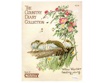 Country Diary Collection Cross Stitch Booklet, Birds Cross Stitch, Floral Cross Stitch Cross, Country Cross Stitch, by NewYorkTreasures Etsy