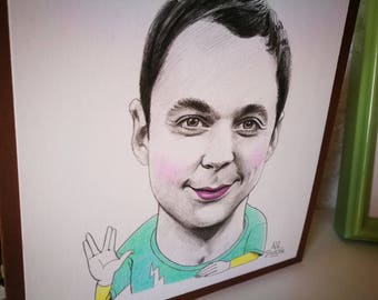 Sheldon Cooper. Mini portrait 14x14 centimeters Original drawing made in pencil.