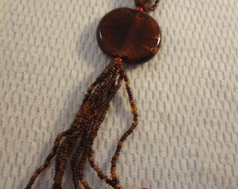 Extra Long Gathered Strand Seed Bead Brown and Burnt Red Necklace - F031