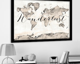 Abstract World Map, Sepia Print, Wanderlust Vintage Map, World Map Canvas, Large Travel Poster, Large Antique World Map Print, Travel Theme