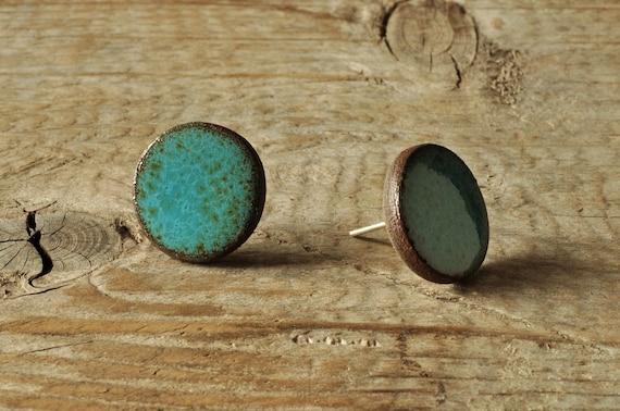 SMALL glossy aqua round stoneware stud earrings