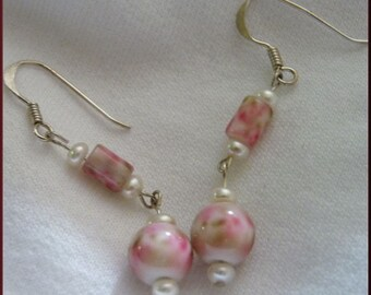 Vintage-Victorian-Look Sterling, Pearl and Floral Glass Earrings