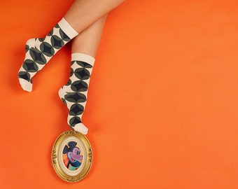 Bruno Socks, Women's Socks, Socks Bruno for Women, Round Pattern Socks, Beige Socks, Colorful Socks