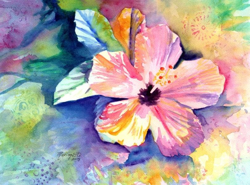 Hibiscus Watercolor Original Hibiscus Art Tropical Flowers Kauai