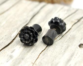 Fake Plugs Post Earrings Black Horn Earrings Spiral Tribal Fake Gauge Earrings - Gauges Plugs Bone Horn - FP001 H G1