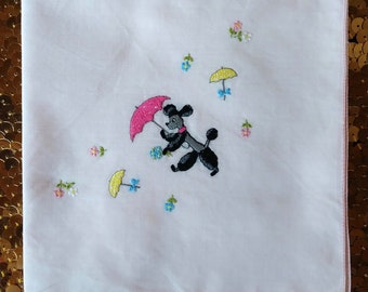 Vintage 1950s Handkerchief 60s Hanky French Poodle Umbrella Rainy Showers