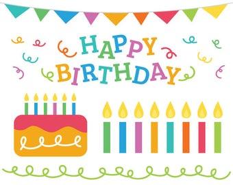 Happy Birthday Party Clip Art Set | Celebration Confetti Border Cake Candles Banner Hat Balloons Stars Stripes Card Graphic Design Decor