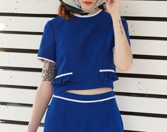 Blue ruffle shirt blouse  1960s Mod Miu Custom made