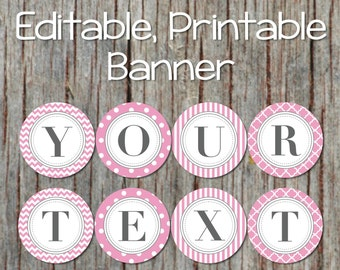 Happy Birthday Banner Baby Shower Decorations Editable Printable Banner JPG File INSTANT DOWNLOAD Powder Pink Grey 004