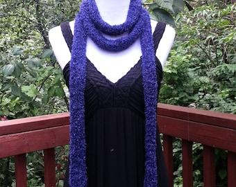 Dark Purple Skinny Scarf. Long Bohemian Scarf. Summer scarf Hippie Gypsy  Thin knitted Women's