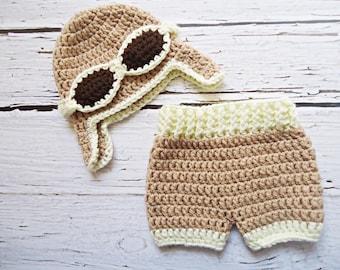 Aviator crochet hat for newborn, Aviator crochet set for newborn