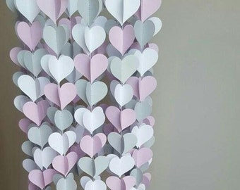 Baby Mobile, Baby Mobile, 3D Hearts, BabyGirl, Lilac , Nursery Decoration, Party Decor, Wedding, Engagement, Baby Girl, Paper Craft