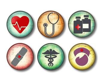 Medical Magnets, Nurse Magnets, Gift for Nurse, Kitchen Magnets, Magnet Set, Fridge Magnets, Ceramic Magnets