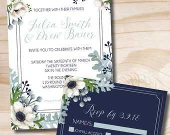 Rustic Anemone and Dusty Miller Greenery Wedding Invitation and RSVP Navy Gray Sage White Invitation Suite