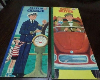 Pair of Vintage 1968 Golden Busy People Book's Danny Driver and Captain Charlie 16 Inches Tall Excellent Condition