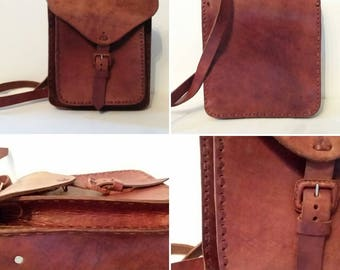 "Vintage Brown Leather Messanger Bag 9.5"" tall x 8"" wide"