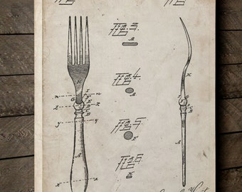 Fork 1884 Patent Canvas Art, Antique Silverware, Silverware Art, Dining Room Decorations, Canvas Wall Decor, PP0238