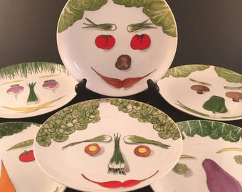 Vintage Franci Vegetable Face Salad Plate Set of 6 Villa Vanilla Palm Beach, Vegetable Face Plates Set of 6, Taste Setter Collection
