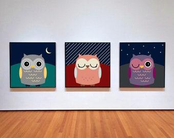Set of 3 woodland owls prints